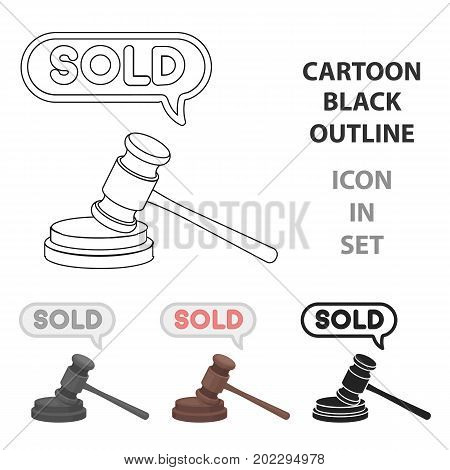 Auction hammer icon in cartoon style isolated on white background. E-commerce symbol vector illustration.
