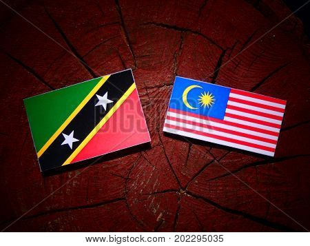Saint Kitts And Nevis Flag With Malaysian Flag On A Tree Stump Isolated