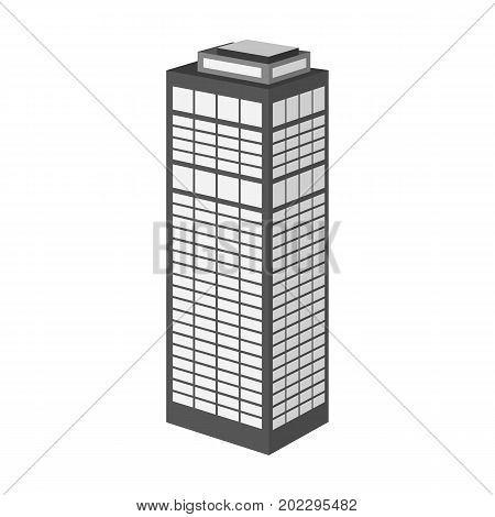 High-rise building of a skyscraper. Skyscraper single icon in monochrome style vector symbol stock illustration .