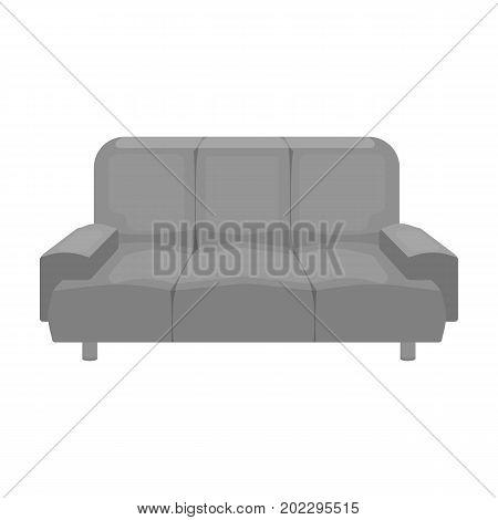 Soft, stylish and comfortable sofa. Furniture single icon in monochrome style Isometric vector symbol stock illustration .