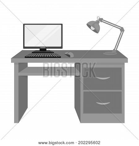 A desk with a computer and a desk lamp. Furniture and interior single icon in monochrome style Isometric vector symbol stock illustration .