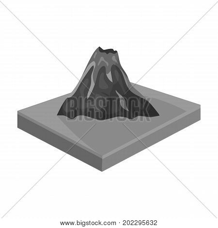 Mountains, volcanoand landscape. Relief and mountains single icon in monochrome style isometric vector symbol stock illustration .
