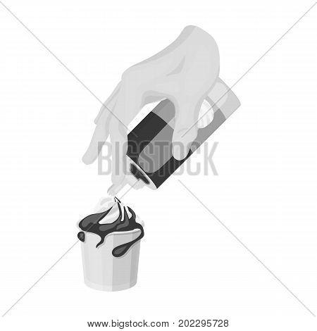 Preparation of a delicious dessert with cream. Dessert single icon in monochrome style vector symbol stock illustration .