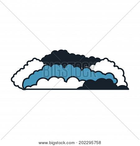 cloud cumulus in color blue sections silhouette vector illustration