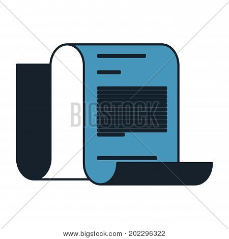 continuously sheet contract document in color blue sections silhouette vector illustration
