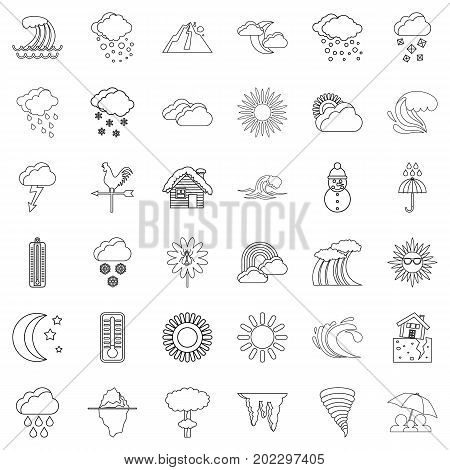 Weather icons set. Outline style of 36 weather vector icons for web isolated on white background