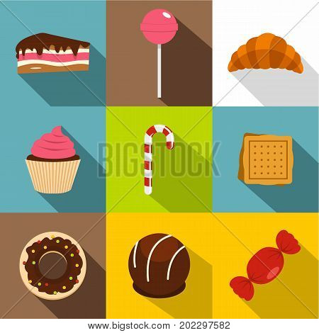 Candies icon set. Flat style set of 9 candies vector icons for web design