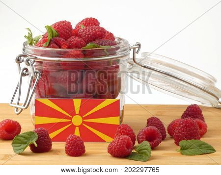 Macedonian Flag On A Wooden Panel With Raspberries Isolated On A White Background