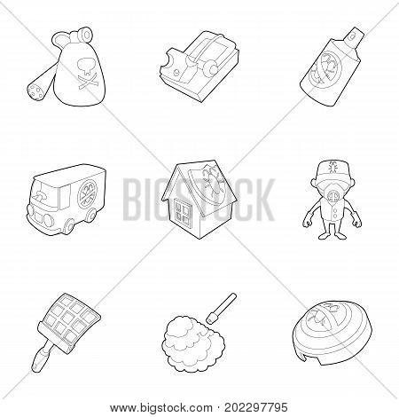 Pest extermination icons set. Outline set of 9 pest extermination vector icons for web isolated on white background