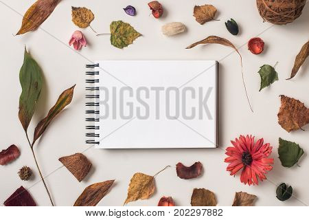 Autumn Background With White Sketchbook Mock Up