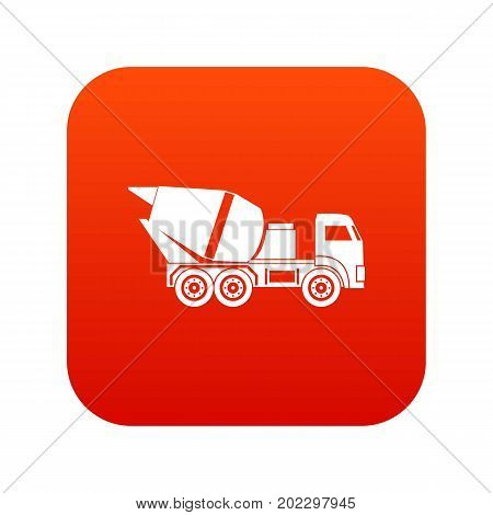 Building mixer for concrete icon digital red for any design isolated on white vector illustration