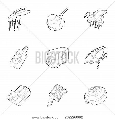 Pest icons set. Outline set of 9 pest vector icons for web isolated on white background