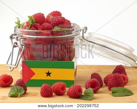 Sao Tome And Principe Flag On A Wooden Panel With Raspberries Isolated On A White Background