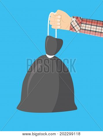 Plastic garbage bag with rope in hand. Garbage recycling and utilization equipment. Waste management. Vector illustration in flat style