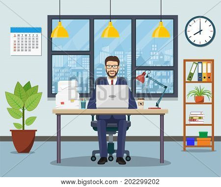 Office workplace with table, bookcase, window. Business man or a clerk working at her office desk. Vector illustration in flat style