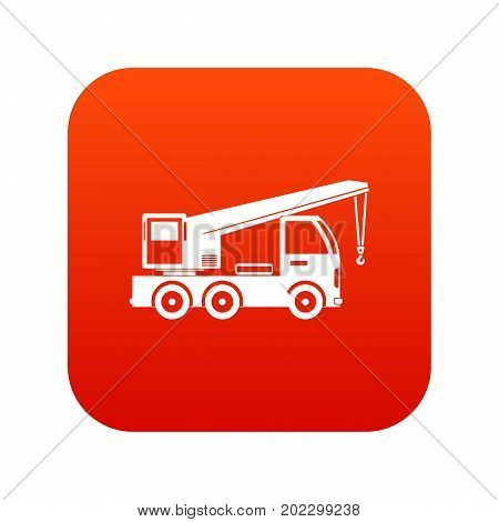 Truck mounted crane icon digital red for any design isolated on white vector illustration