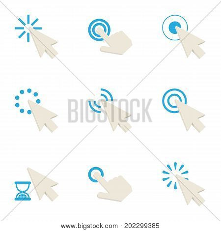Hand cursor icons set. Cartoon set of 9 hand cursor vector icons for web isolated on white background