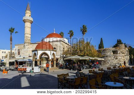 KOS, GREECE - DECEMBER 9, 2016: Mosque in a square in Kos town, Greece on December 9, 2016.