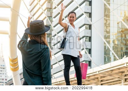 Woman Waving Hand Say Hello To Her Friend.