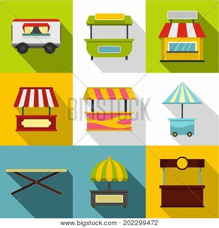 Street kiosk icon set. Flat style set of 9 street kiosk vector icons for web design