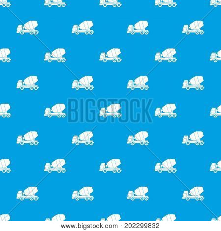 Truck concrete mixer pattern repeat seamless in blue color for any design. Vector geometric illustration