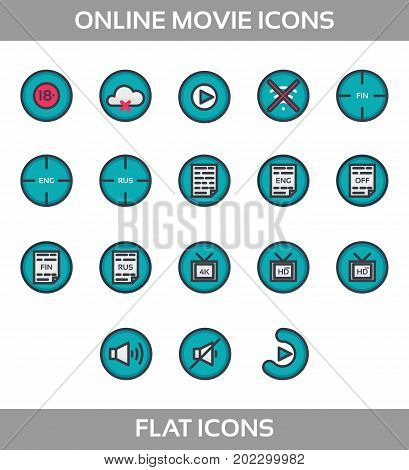 Media Player Icons Set. Multimedia. Isolated. Vector Illustration, pixel perfect set. Online movie theatre. Flat style with outline