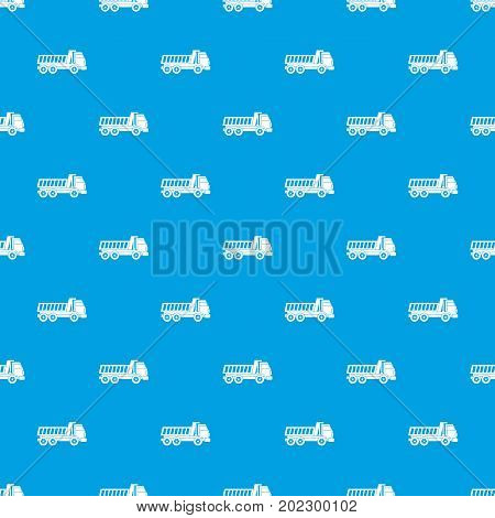 Dumper truck pattern repeat seamless in blue color for any design. Vector geometric illustration