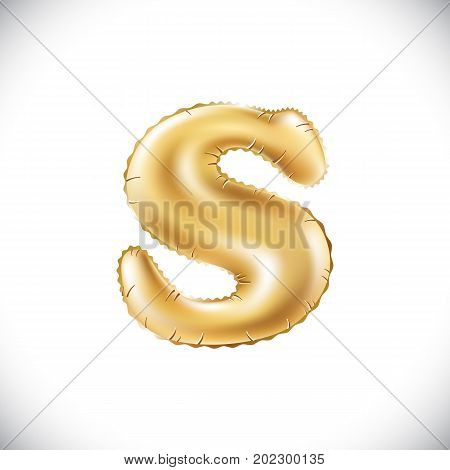 Balloon Letter S. Realistic 3D Isolated Gold Helium Balloon Abc Alphabet Golden Font Text. Decoratio