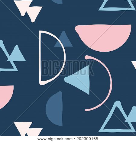 Vector hipster mix and match minimalistic pattern. Pastel simple geometric shape on blue background. Back to 60s decoration template