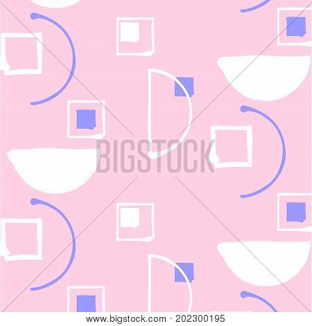 Neutral vector geometric minimalistic pattern with rectangle. Ethnic sixties decoration.Textile ditsy random shapes. Simple spots brush strokes fantasy print