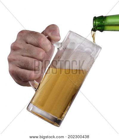 Pouring beer bottle on jar isolated on white background.