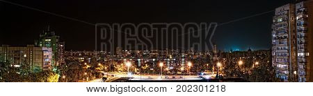 Panorama Of The Night City In Ukraine