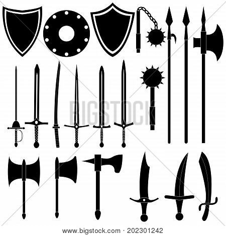 Large collection of medieval weapons. Antique swords axes spears. Black arms on white background. Vector design.