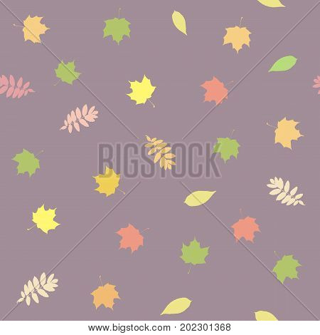 Seamless background with colorful autumn leaves on the delicate purple background