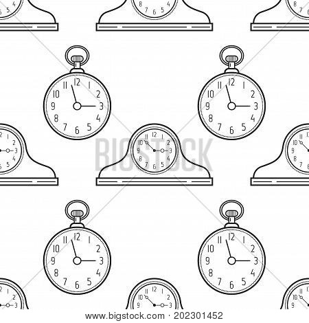 Mantel clocks and pocket watch. Black and white seamless pattern for coloring books, pages. Vector illustration.