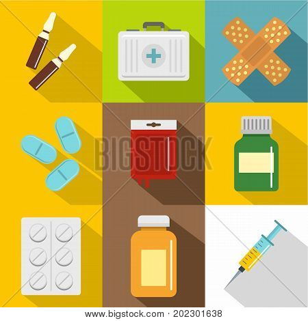 Medication icon set. Flat style set of 9 medication vector icons for web design