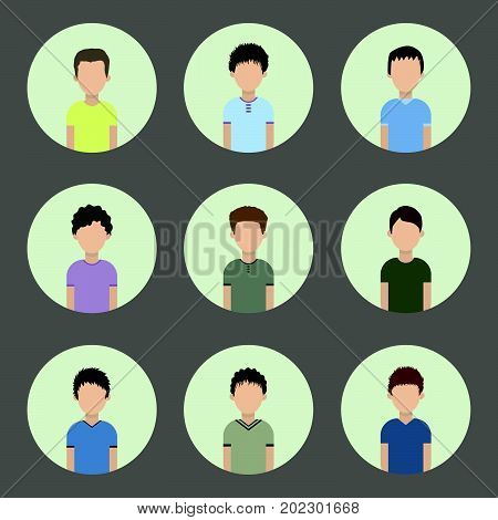 collection of icons of men in a flat style. male avatars. set of images of young men. vector illustration.