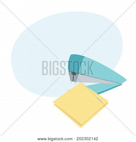 Stapler staples sheets. Process. Office work tool cartoon vector. Working in office, education, business concept.