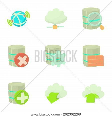 Storage interface icons set. Cartoon set of 9 storage interface vector icons for web isolated on white background