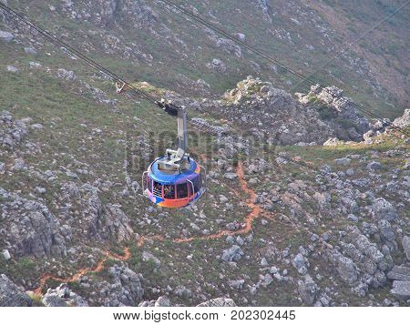 Cape Town, South Africa - September 12, 2016: The cable car brings many tourists up to the Table Mountain National Park, the landmark of Cape Town in South Africa.