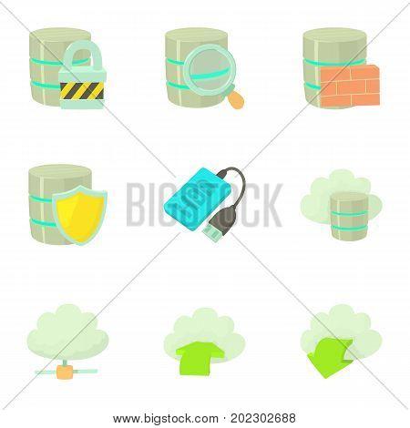 Storage technology icons set. Cartoon set of 9 storage technology vector icons for web isolated on white background