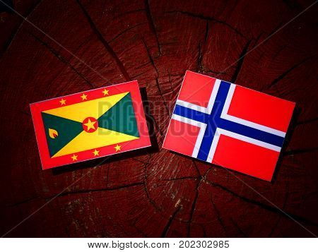 Grenada Flag With Norwegian Flag On A Tree Stump Isolated