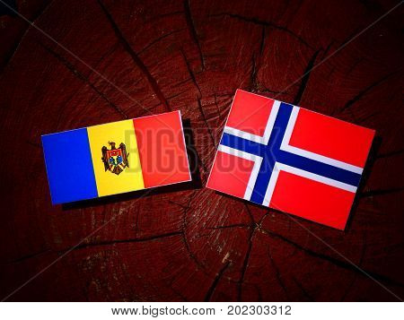 Moldovan Flag With Norwegian Flag On A Tree Stump Isolated