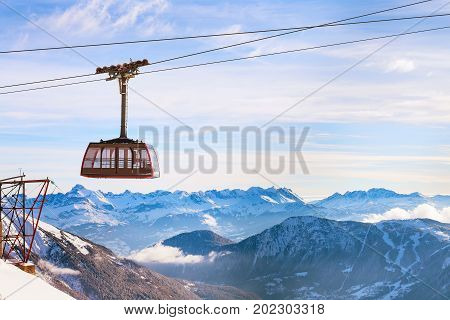 Cable Car and snow mountains panorama of French Alps near Chamonix, France.