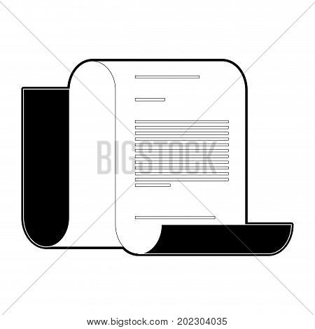 continuously sheet contract document black silhouette and thick contour vector illustration