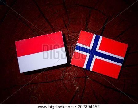 Indonesian Flag With Norwegian Flag On A Tree Stump Isolated