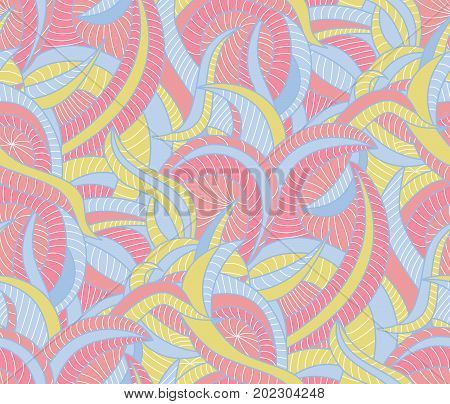 Seamless pattern background with the various curves
