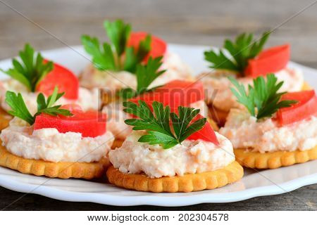 Round biscuit crackers with cream cheese on a serving plate. Healthy snack from salted biscuit crackers, savory cream cheese, fresh tomato slices and parsley. Cold buffet food idea. Closeup