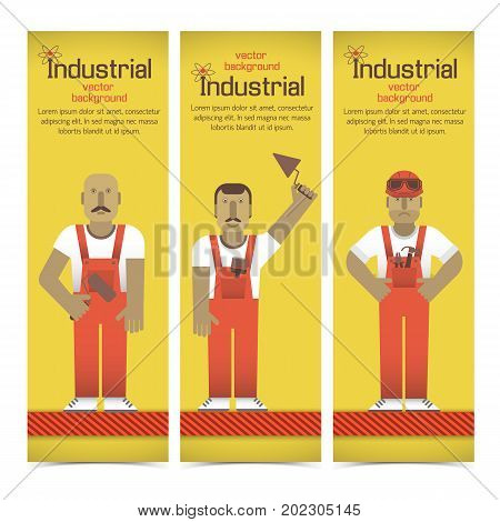 Set of vertical banners with industrial workmen in red overalls on yellow background isolated vector illustration