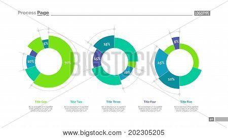 Pie charts slide template. Business data. Graph, diagram, design. Creative concept for infographic, templates, presentation, marketing, report. Can be used for topics like business, research, analysis